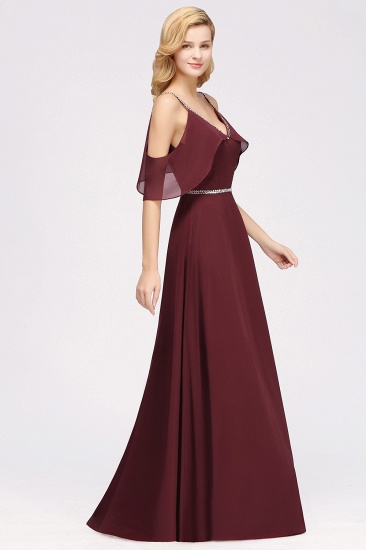 Burgundy Cold-shoulder Long Bridesmaid Dress With Half Sleeve_7