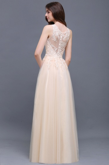 BMbridal Elegant Tulle Lace Champagne Long Bridesmaid Dress With Appliques_3