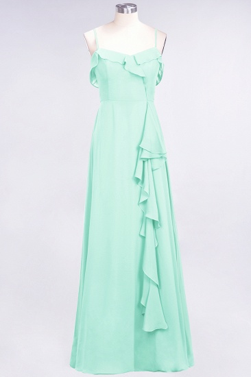 Elegant Spaghetti Straps Ruffle Burgundy Chiffon Dresses Affordable_36
