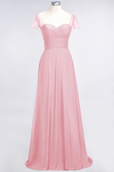 Chic Chiffon Sweetheart Cap-Sleeves Ruffle Bridesmaid Dresses with Beadings_4
