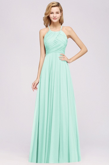 BMbridal Halter Crisscross Pleated Bridesmaid Dress Blue Chiffon Sleeveless Maid of Honor Dress_36