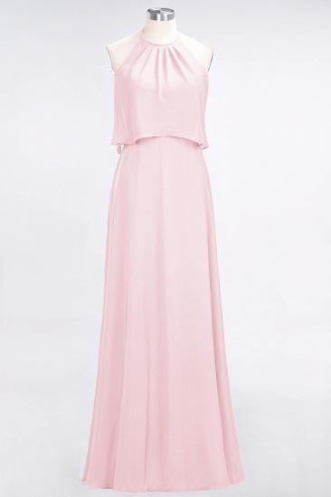 BMbridal Gorgeous Chiffon Flounced Crinkle Sheath Long Burgundy Bridesmaid Dresses_3