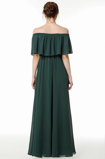 Gorgeous Chiffon Flounced Crinkle Cold-shoulder Long Bridesmaid Dresses Affordable_3