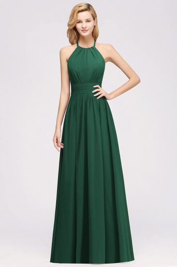 Elegant High-Neck Halter Long Affordable Bridesmaid Dresses with Ruffles_53