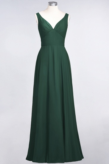 Chic Chiffon V-Neck Straps Ruffle Affordable Bridesmaid Dresses with Open Back_31