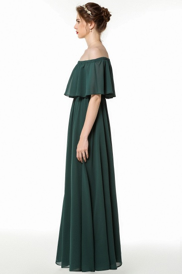 Gorgeous Chiffon Flounced Crinkle Cold-shoulder Long Bridesmaid Dresses Affordable_4