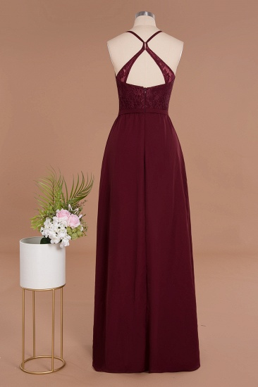Elegant CrissCross Back Burgundy Lace Bridesmaid Dress With Spaghetti Straps_11