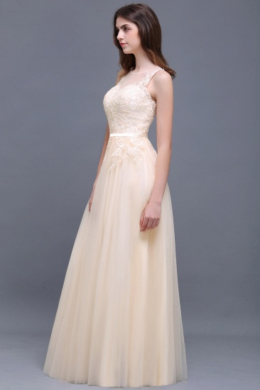 BMbridal Elegant Tulle Lace Champagne Long Bridesmaid Dress With Appliques_4
