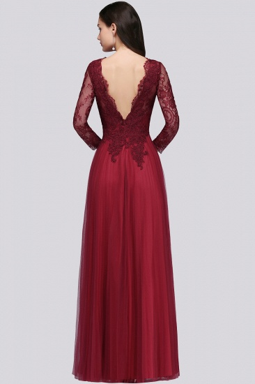 Affordable Long Sleeves V-Neck Lace Burgundy Bridesmaid Dresses with Appliques_3