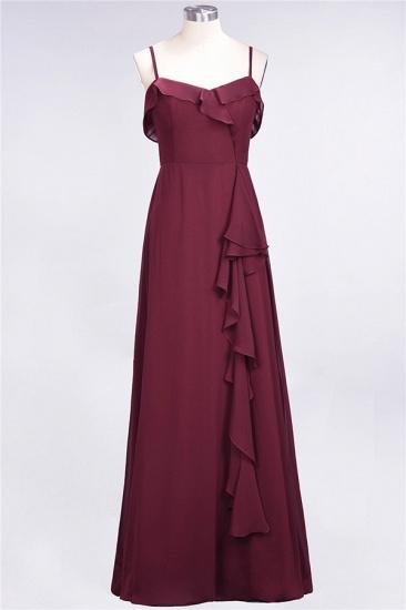 Elegant Spaghetti Straps Ruffle Burgundy Chiffon Dresses Affordable_60