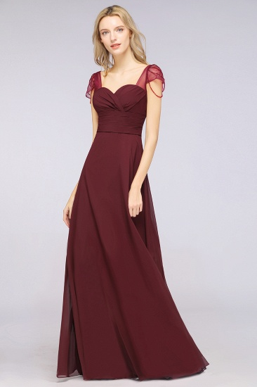 Chic Chiffon Sweetheart Cap-Sleeves Ruffle Bridesmaid Dresses with Beadings_53