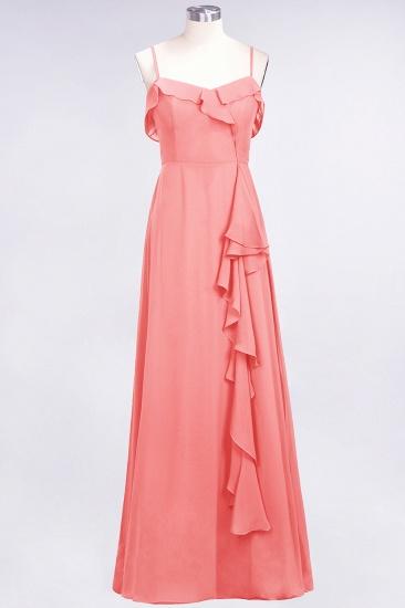 Elegant Spaghetti Straps Ruffle Burgundy Chiffon Dresses Affordable_7