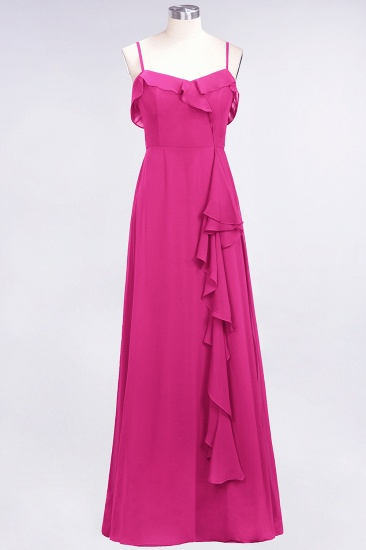Elegant Spaghetti Straps Ruffle Burgundy Chiffon Dresses Affordable_9