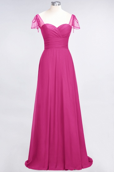Chic Chiffon Sweetheart Cap-Sleeves Ruffle Bridesmaid Dresses with Beadings_9
