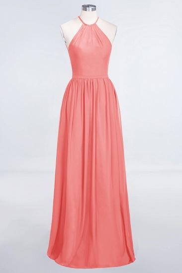 BMbridal Affordable Halter Sleeveless Long Burgundy Bridesmaid Dress with Ruffle_7