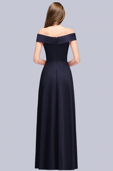 Popular Off-the-Shoulder Ruffle Navy Bridesmaid Dresses Online_3