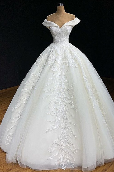 Modest Off-the-shoulder White A-line Wedding Dresses Tulle Ruffles Bridal Gowns With Appliques Online_1