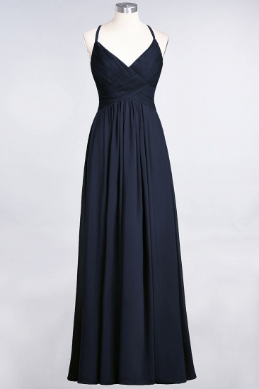 Affordable Chiffon Ruffle V-Neck Bridesmaid Dress with Spaghetti Straps_27
