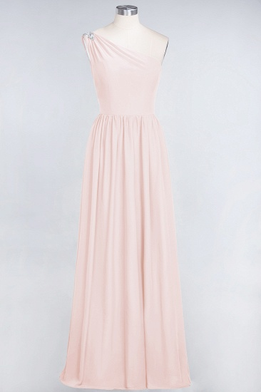Affordable Chiffon One-Shoulder Ruffle Bridesmaid Dress with Beadings_5