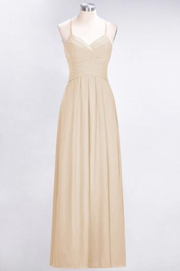 Affordable Spaghetti Straps V-Neck Burgundy Chiffon Bridesmaid Dress with Keyhole Back_14