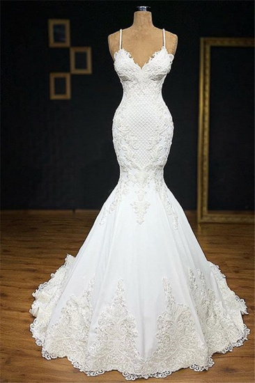 BMbridal Unique White Spaghetti Straps Mermaid Wedding Dresses With Appliques Tulle Ruffles Lace Bridal Gowns Online_2
