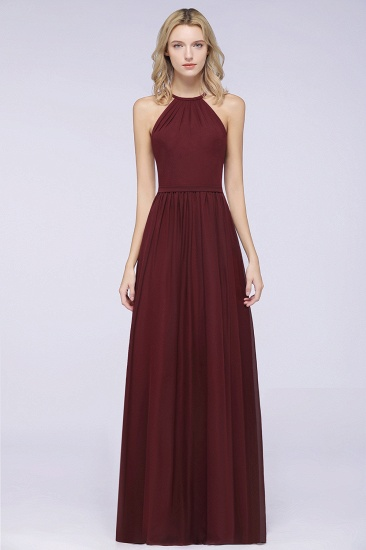 Affordable Halter Sleeveless Long Burgundy Bridesmaid Dress with Ruffle_10