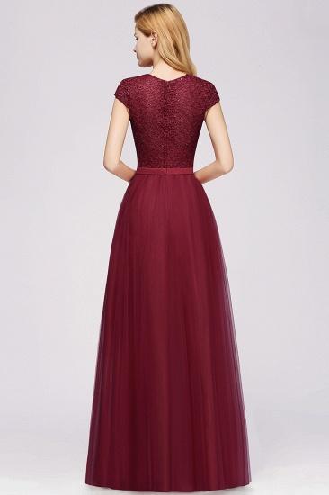 BMbridal Elegant Lace Cap-Sleeves Long Burgundy Birdesmaid Dresses Online_4