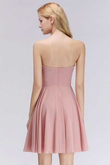Lovely Sweetheart ruffle Pink Chiffon Short Bridesmaid Dresses Affordable_3