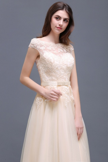 Affordable Off-the-Shoulder Champagne Bridesmaid Dresses with Appliques_5
