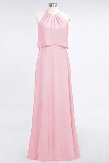 BMbridal Gorgeous Chiffon Flounced Crinkle Sheath Long Burgundy Bridesmaid Dresses_4