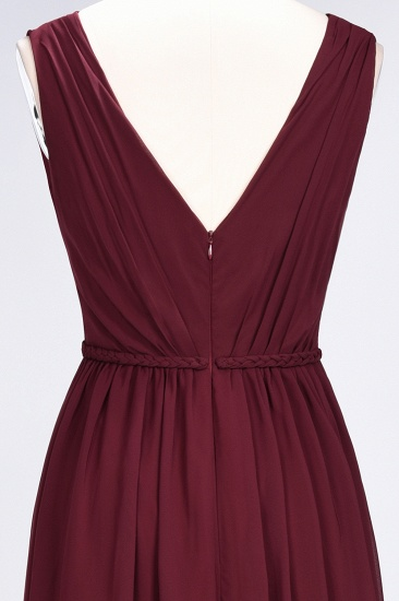 Glamorous TulleV-Neck Ruffle Burgundy Bridesmaid Dress Online_62