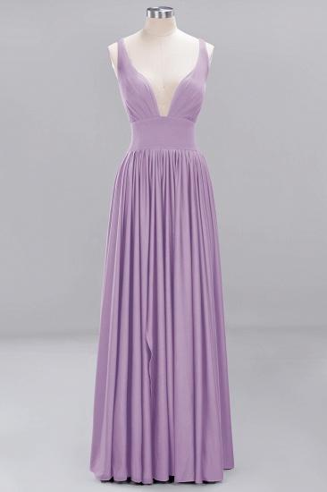 Sexy Deep V-Neck Sleeveless Bridesmaid Dress Burgundy Chiffon Wedding Party Dress_18