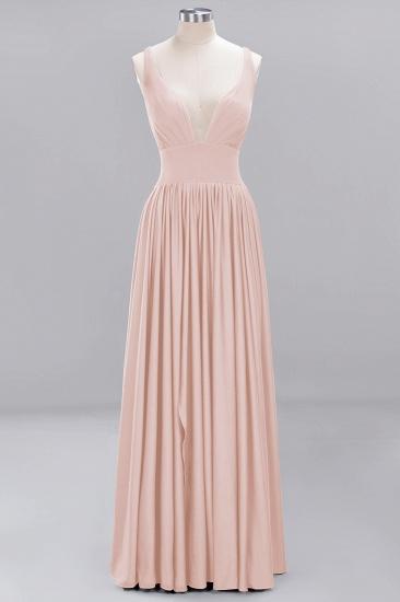 Sexy Deep V-Neck Sleeveless Bridesmaid Dress Burgundy Chiffon Wedding Party Dress_5