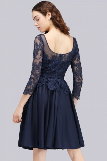 BMbridal Modest 3/4 Sleeves Short Navy Lace Bridesmaid Dresses with Appliques_3