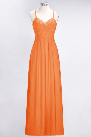 Affordable Spaghetti Straps V-Neck Burgundy Chiffon Bridesmaid Dress with Keyhole Back_15