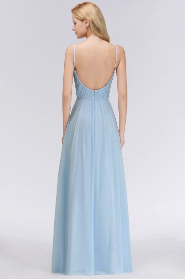 Chic V-Neck Pleated Backless Bridesmaid Dresses with Spaghetti Straps_3