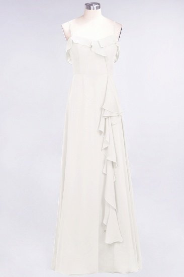 Elegant Spaghetti Straps Ruffle Burgundy Chiffon Dresses Affordable_2
