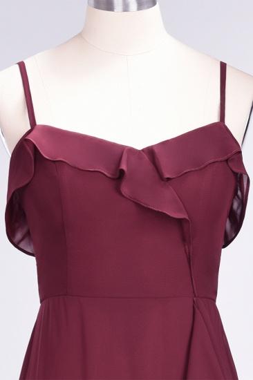 Elegant Spaghetti Straps Ruffle Burgundy Chiffon Dresses Affordable_63