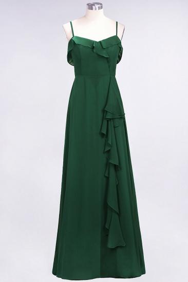 BMbridal Elegant Spaghetti Straps Ruffle Burgundy Chiffon Dresses Affordable_31