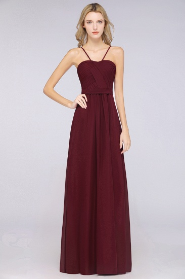 Chic Burgundy Sweetheart Long Bridesmaid Dress With Spaghetti-Straps_1