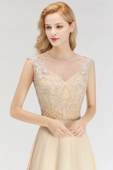 Modest Jewel Champagne Lace Bridesmaid Dresses with Beadings_7