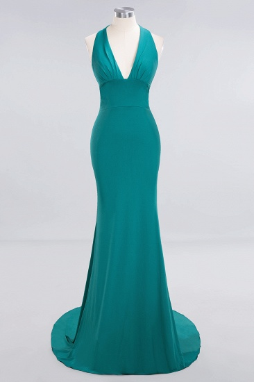 Mermaid Halter V-Neck Dark Green Chiffon Bridesmaid Dress with Open Back_28