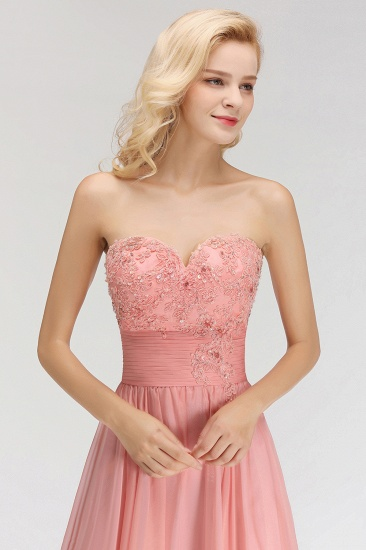 Elegant Sweetheart Ruffle Pink Bridesmaid Dresses with Appliques_6