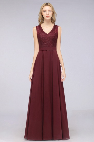 BMbridal Modest Chiffon V-Neck Burgundy Lace Bridesmaid Dresses Online_53