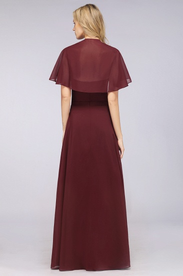 Chic Satin V-Neck Long Burgundy Chiffon Bridesmaid Dress with Flutter Sleeve_52