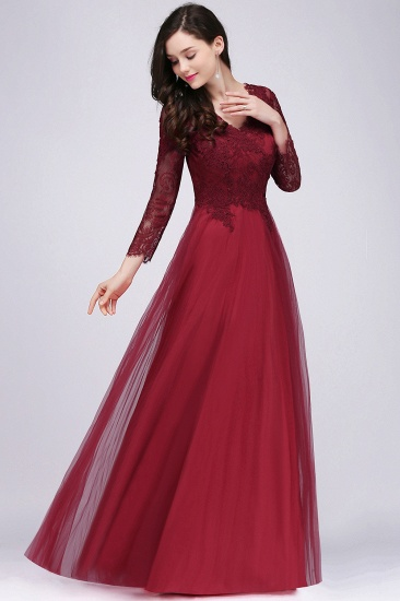 Affordable Long Sleeves V-Neck Lace Burgundy Bridesmaid Dresses with Appliques_1
