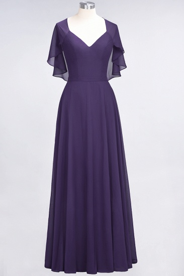 Chic Satin V-Neck Long Burgundy Chiffon Bridesmaid Dress with Flutter Sleeve_18
