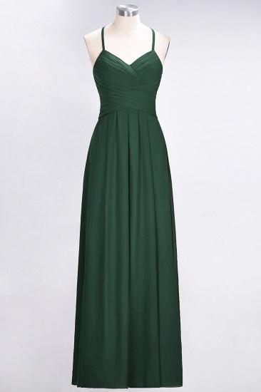 Affordable Spaghetti Straps V-Neck Burgundy Chiffon Bridesmaid Dress with Keyhole Back_31