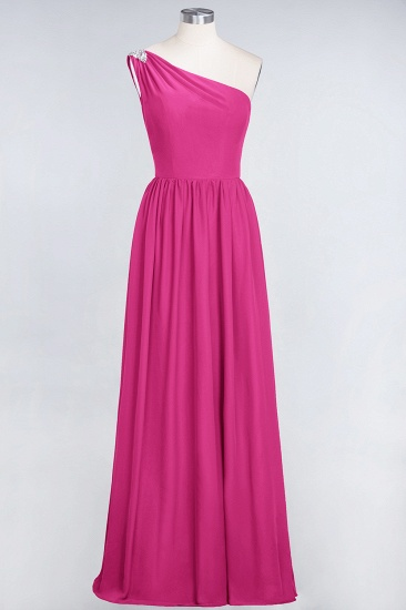 Affordable Chiffon One-Shoulder Ruffle Bridesmaid Dress with Beadings_9