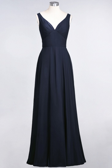 Chic Chiffon V-Neck Straps Ruffle Affordable Bridesmaid Dresses with Open Back_28